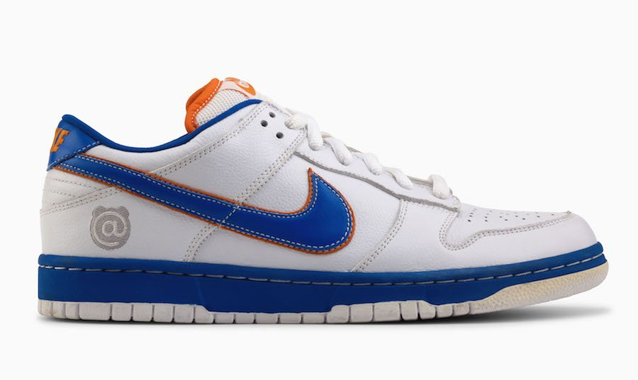2b329483ce5f96 Medicom Toy Nike SB Dunk White Blue Orange