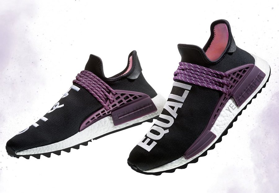 Pharrell adidas NMD Hu Trail Blank Canvas Black Purple AC7033