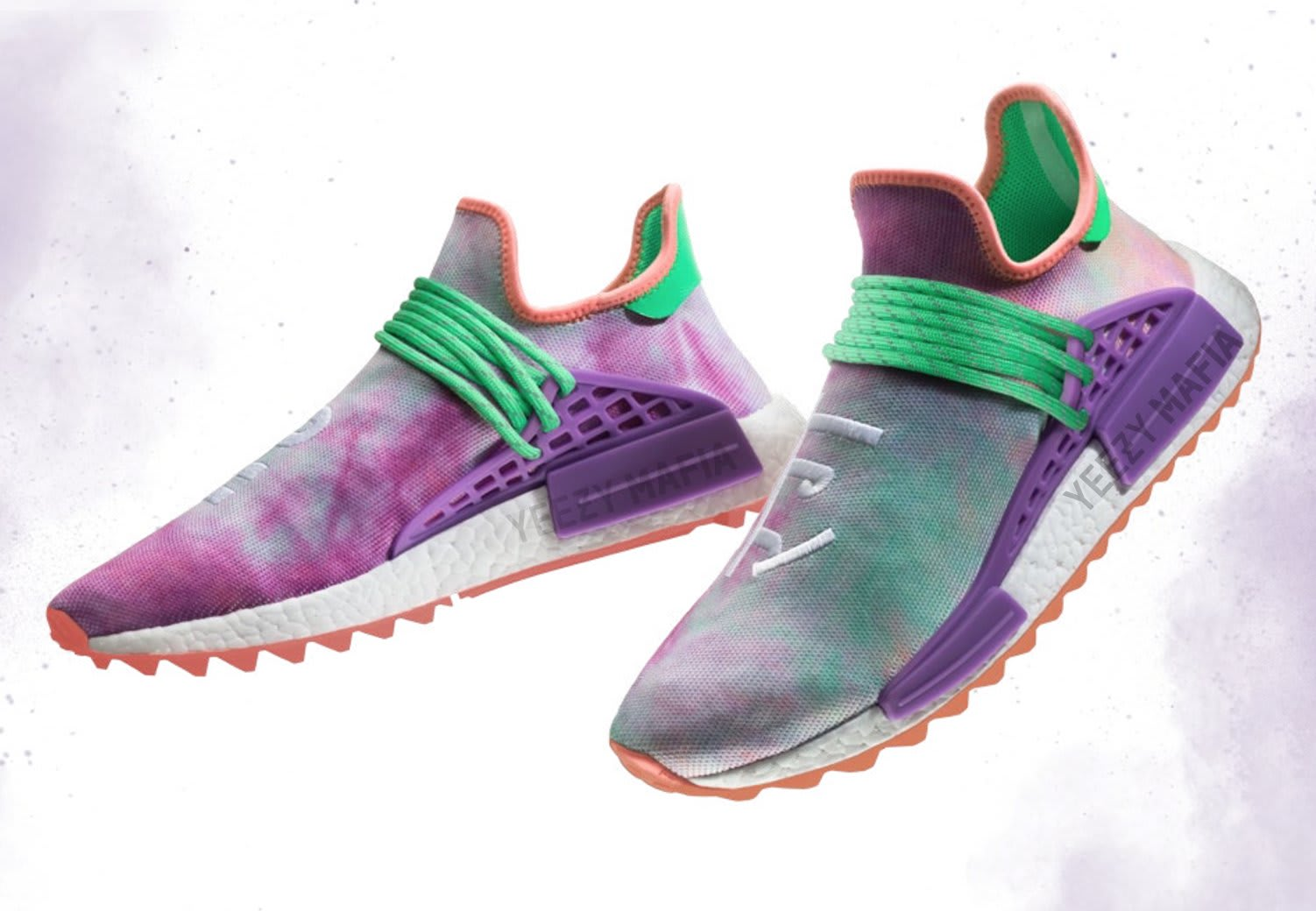 Pharrell adidas NMD Hu Trail Holi Coral Green Purple AC7034