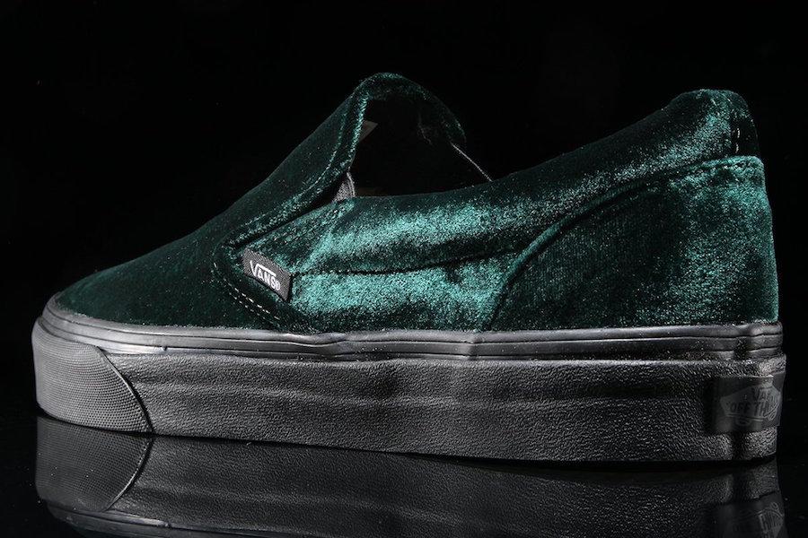 Vans Slip-On Green Velvet