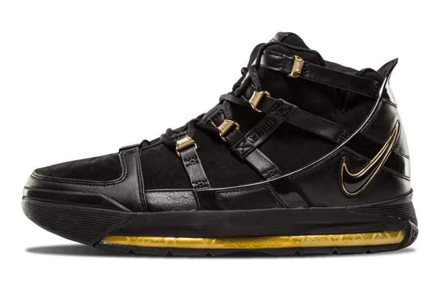 2006 Nike LeBron 3 Black Metallic Gold 312147-006