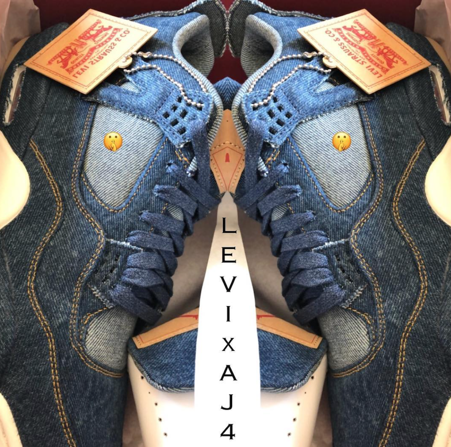 Levis Air Jordan 4 Denim Sail Game Red