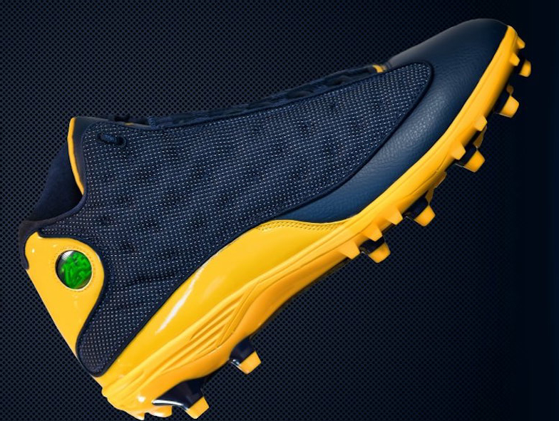 dcf86e6f5ee3c Michigan Football Air Jordan 13 Cleat PE | SneakerFiles