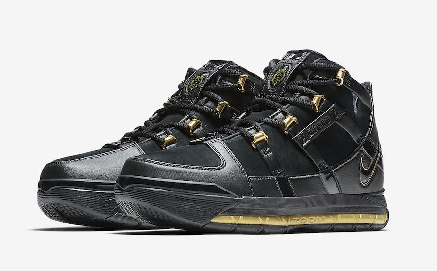 56955451de41d0 Nike LeBron 3 Black Metallic Gold AO2434-001 Release Date