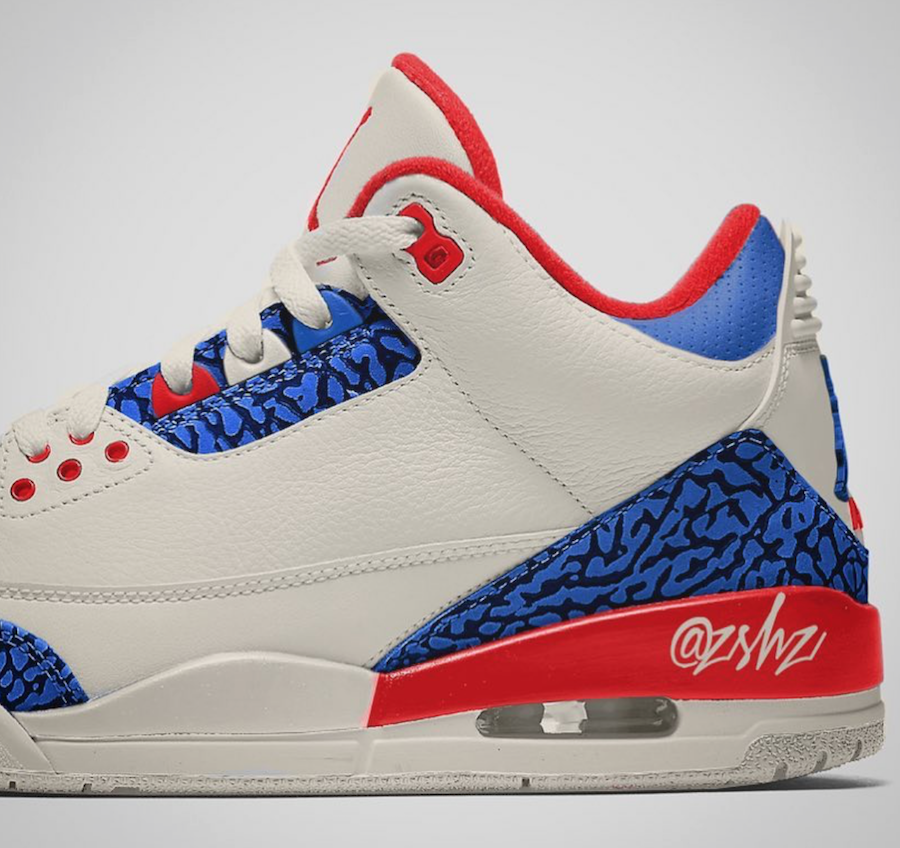 low priced 1a550 8b27d Air Jordan 3 USA Sail Sport Royal Fire Red 136064-140