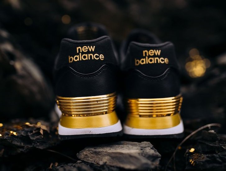 New Balance 574 Black Metallic Gold