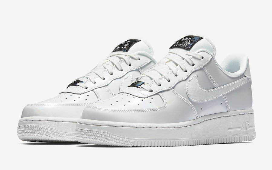 Mens Nike Air Force One 07 Low Premium PRM QS Iridescent Pack Shoes WhiteWhiteMetallic Silver 704517 100