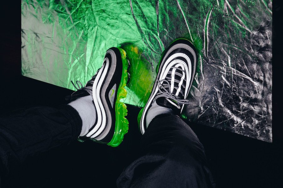 Nike Air VaporMax 97 Volt Neon On Feet