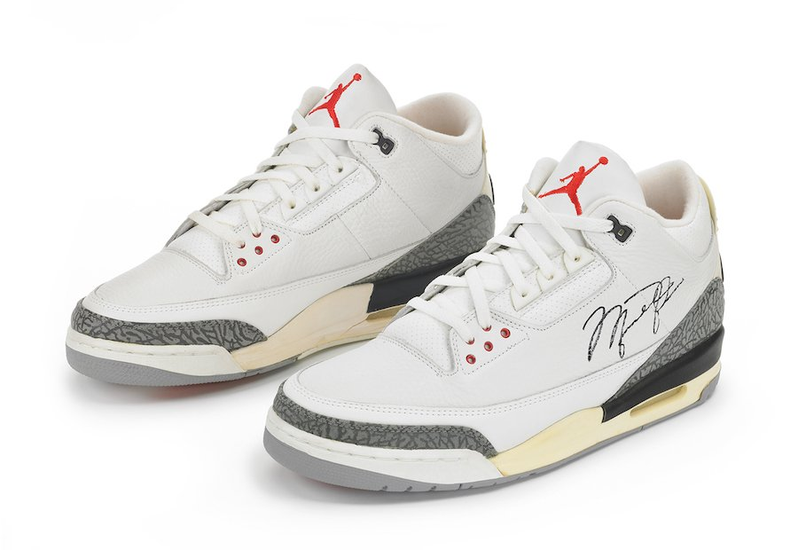 Original Air Jordan 3 White Cement Signed Michael Jordan