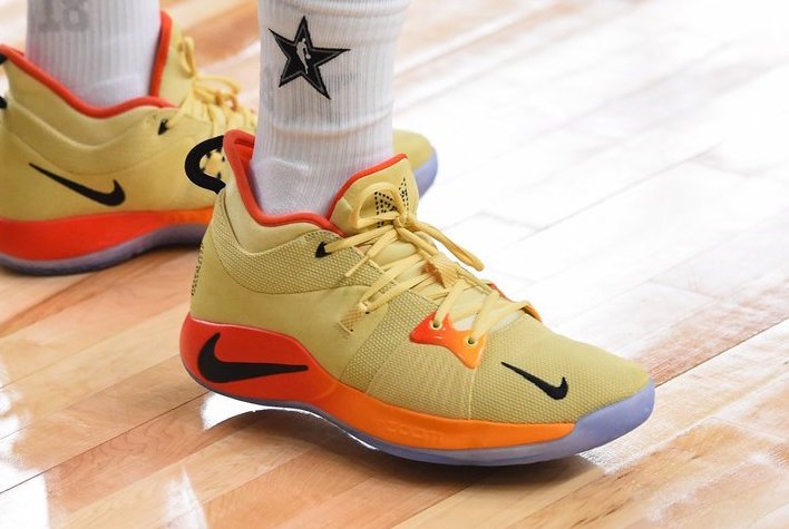 11a67b23938 Paul George Nike PG 2 Yellow Orange All-Star PE