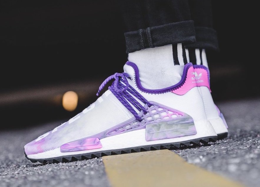 Pharrell adidas NMD Hu Trail Holi Pink Glow On Feet b52c32b0d