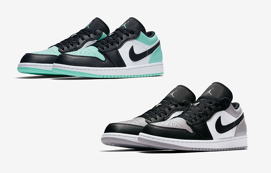 Air Jordan 1 Low Emerald Rise 553558-117 Atmosphere Grey 553558-110
