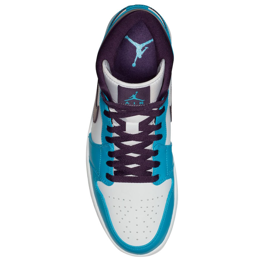 Air Jordan 1 Mid Hornets Blue Lagoon Grand Purple