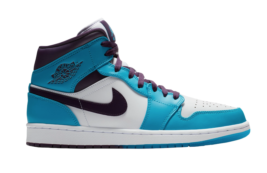 newest collection f6cb4 5b6f1 Air Jordan 1 Mid Hornets Blue Lagoon Grand Purple