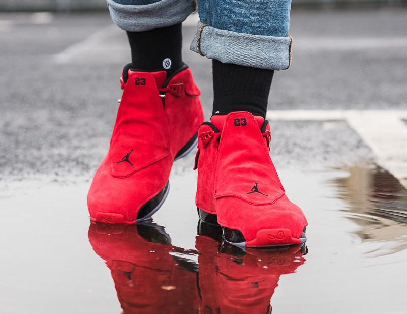 Air Jordan 18 Gym Red Toro Bulls On Feet
