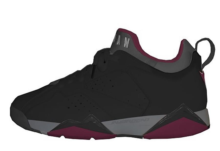 Air Jordan 7 Low Black Light Graphite Midnight Fog Bordeaux