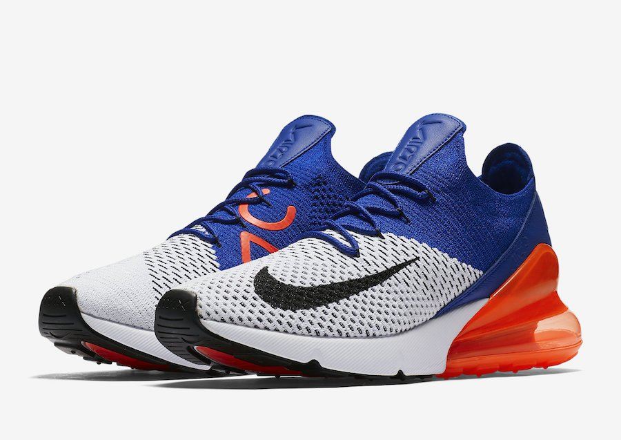 9bccf5163827 Nike Air Max 270 Flyknit Racer Blue Total Crimson AO1023-101 ...