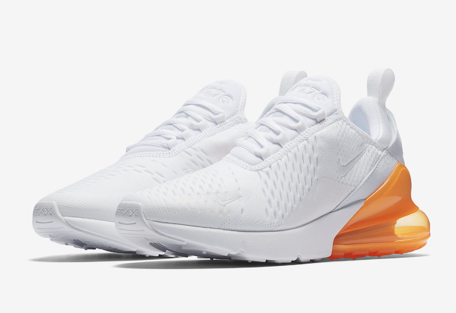"Nike Air Max 270 White Total Orange AH8050 102 SneakerFiles ""title = SneakerFiles"