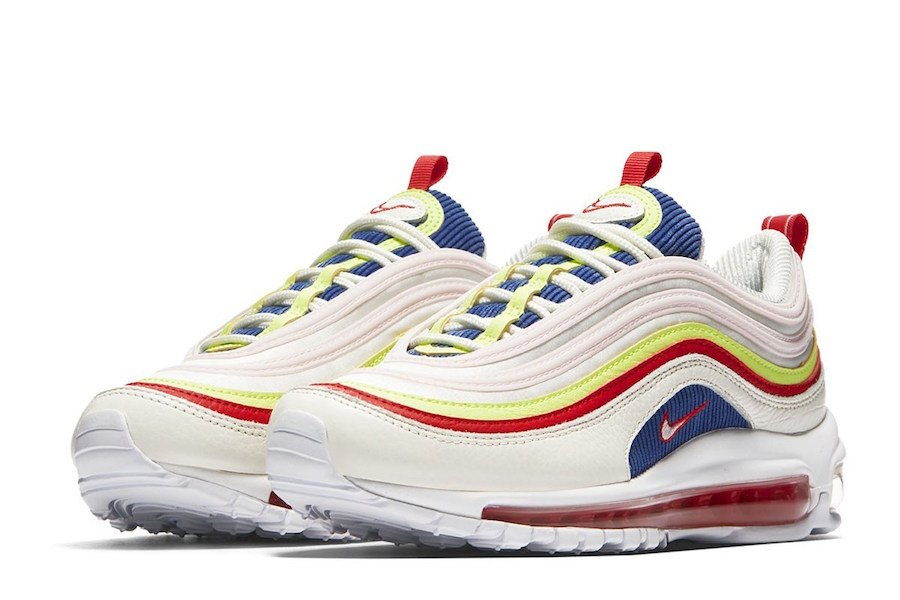 3733eaf100d8 Nike Air Max 97 SE Corduroy White Blue Red Yellow