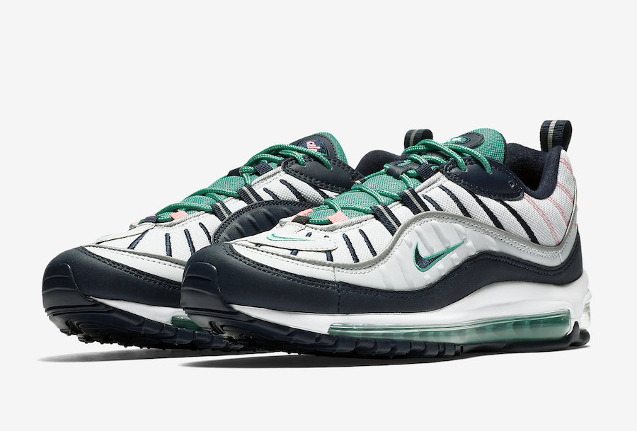 Nike Air Max 98 South Beach Pure Platinum Obsidian Kinetic Green 640744-005
