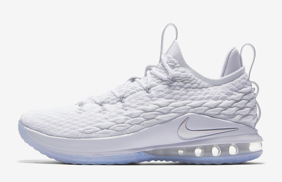 Nike LeBron 15 Low White Metallic Silver Atmosphere Grey AO1755-100