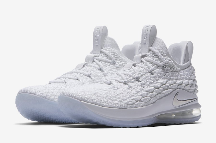 Nike LeBron 15 Low Basketball White/Metallic Silver/Atmosphere Grey AO1755 100