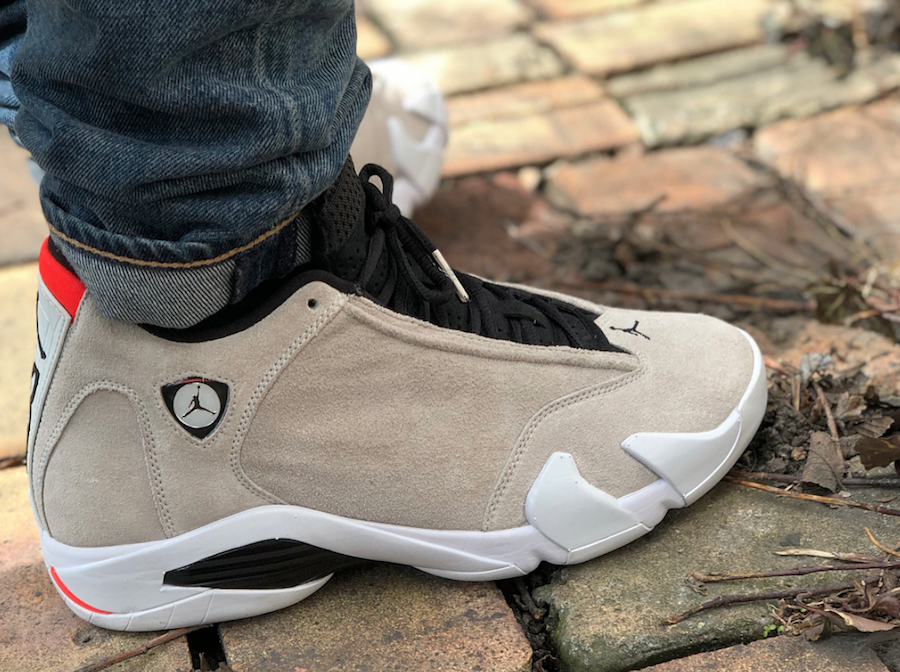 purchase cheap c502a d006d Air Jordan 14 Desert Sand On Feet