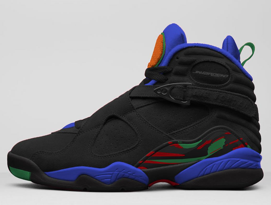 Air Jordan 8 Black Light Concord Aloe Verde University Red Orange Peel 305381-004 Release Date