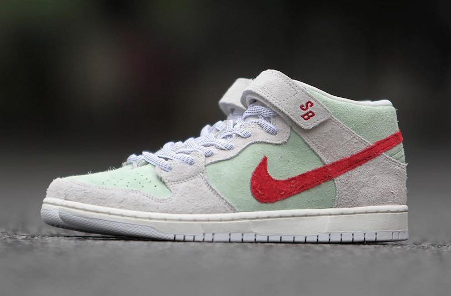 Nike SB Dunk Mid White Widow Sail Gym Red Fresh Mint AQ2207-163