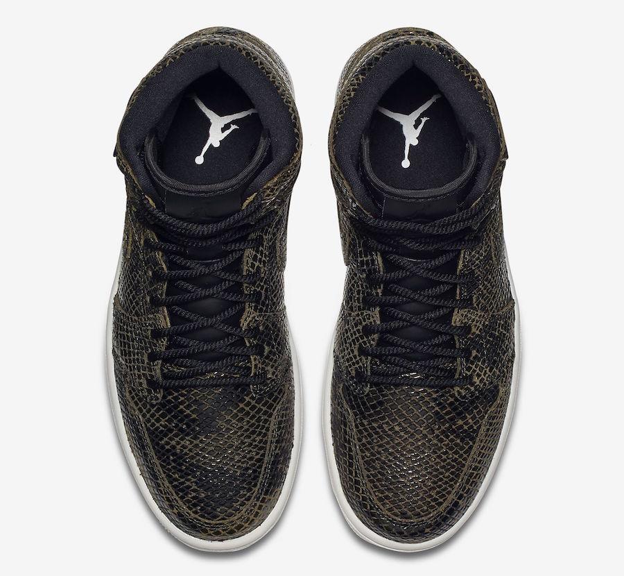 Air Jordan 1 High Premium Snakeskin Olive Canvas AH7389-302