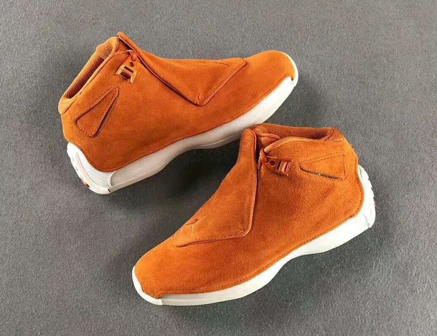 Air Jordan 18 Orange Suede Campfire Sail AA2494-801