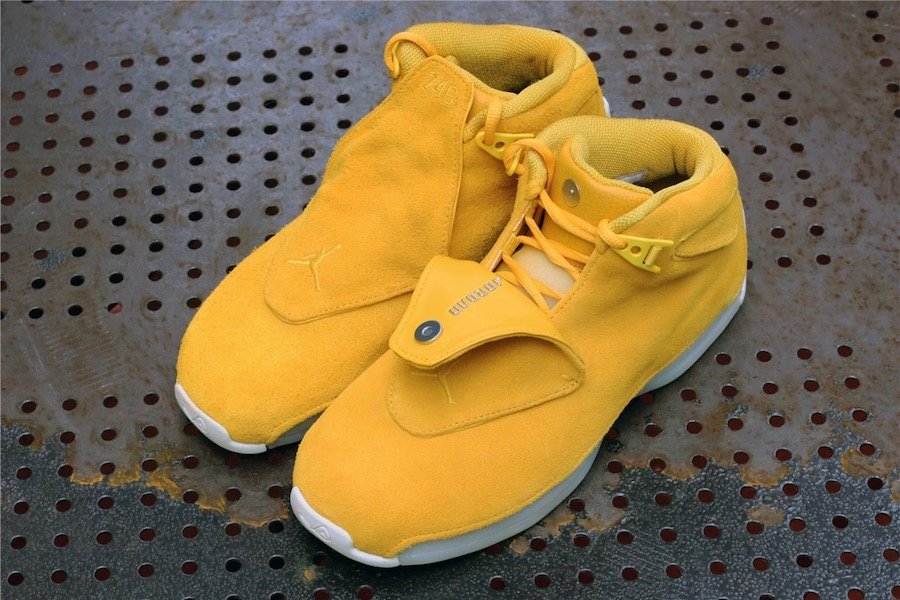 3dd44fb5d84057 Air Jordan 18 Yellow Suede AA2494-701 Release Date