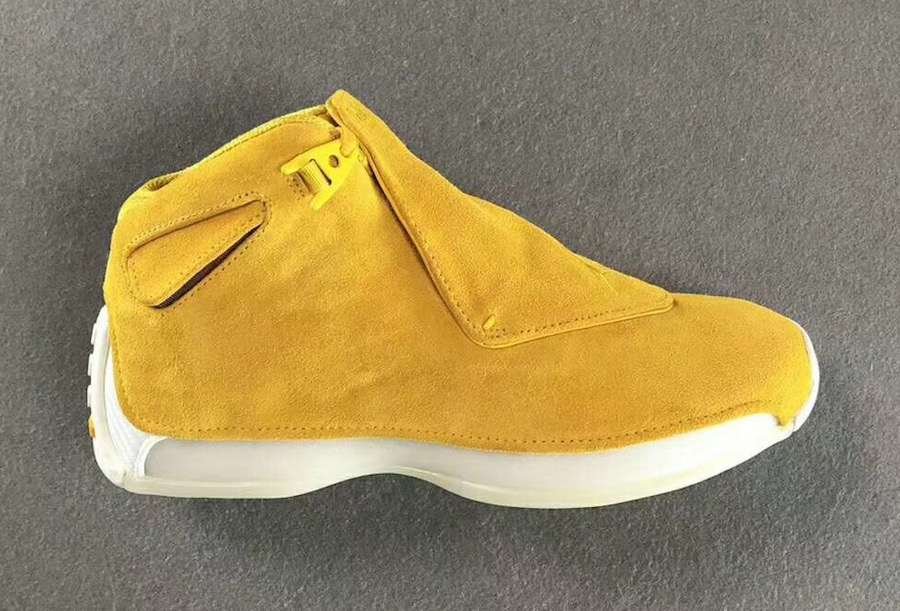 b40468bbce2987 Air Jordan 18 Yellow Suede AA2494-701 Yellow Ochre Sail