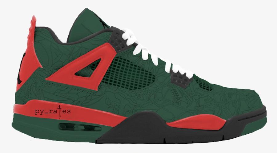 Air Jordan 4 Laser NRG Noble Green Black Gym Red