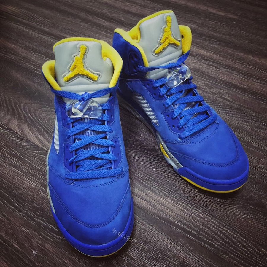 747cb41beb65 Air Jordan 5 JSP Laney Varsity Royal Light Charcoal Varsity Maize  CD2720-400 Release Date