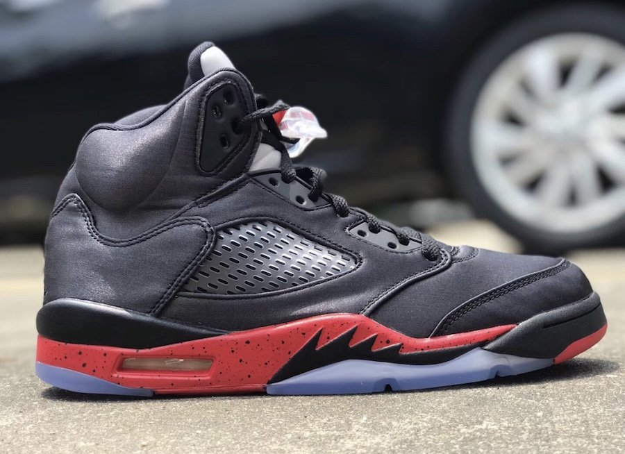 Air Jordan 5 Satin Bred Black University Red