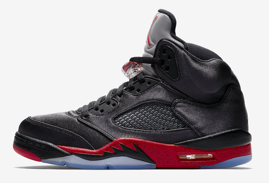 Air Jordan 5 Satin Bred Black University Red 136027-006