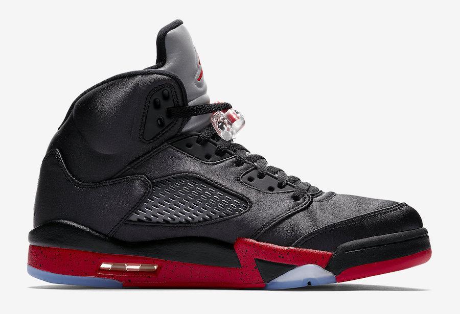Air Jordan 5 Satin Bred Black University Red 136027-006