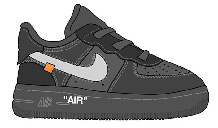 Off-White Nike Air Force 1 Low Black Kids Sizes