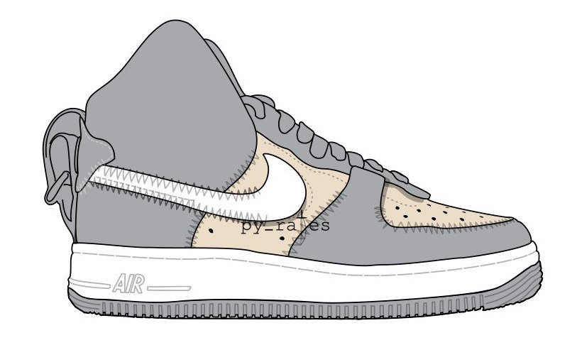 PSNY Nike Air Force 1 High Wolf Grey Sail White Wolf Grey