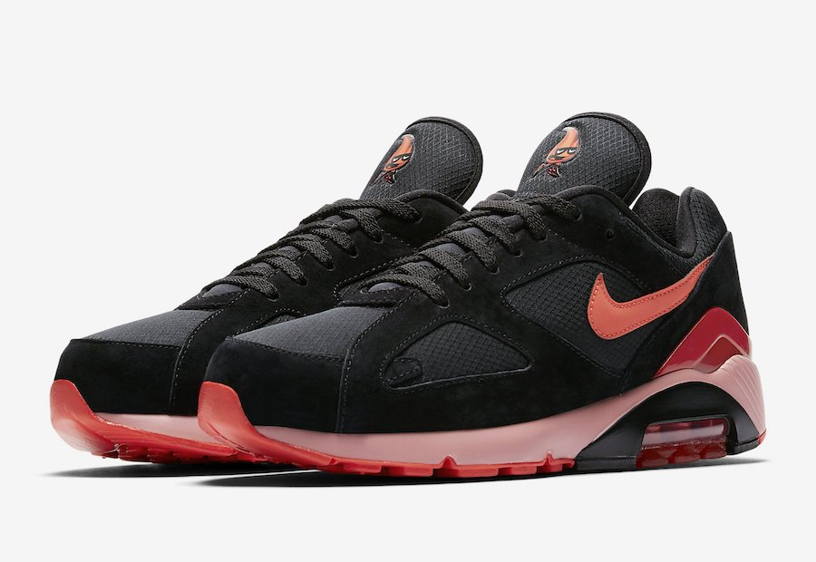 c9fc22f4ce00 Nike Air Max 180 Black Team Orange University Red AV3734-001 ...