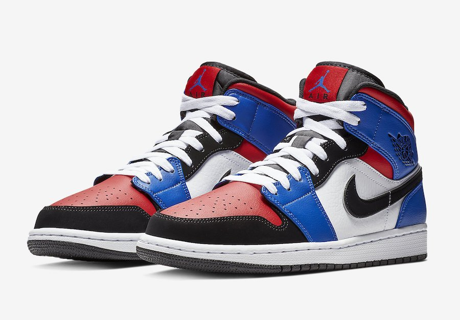 Air Jordan 1 Mid Top 3 Blue Red Black White 554724 124