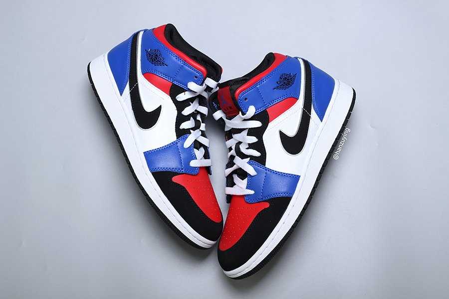 dfa733cb3f9 Air Jordan 1 Mid Top 3 Blue Red Black White 554724-124 Release Date ...