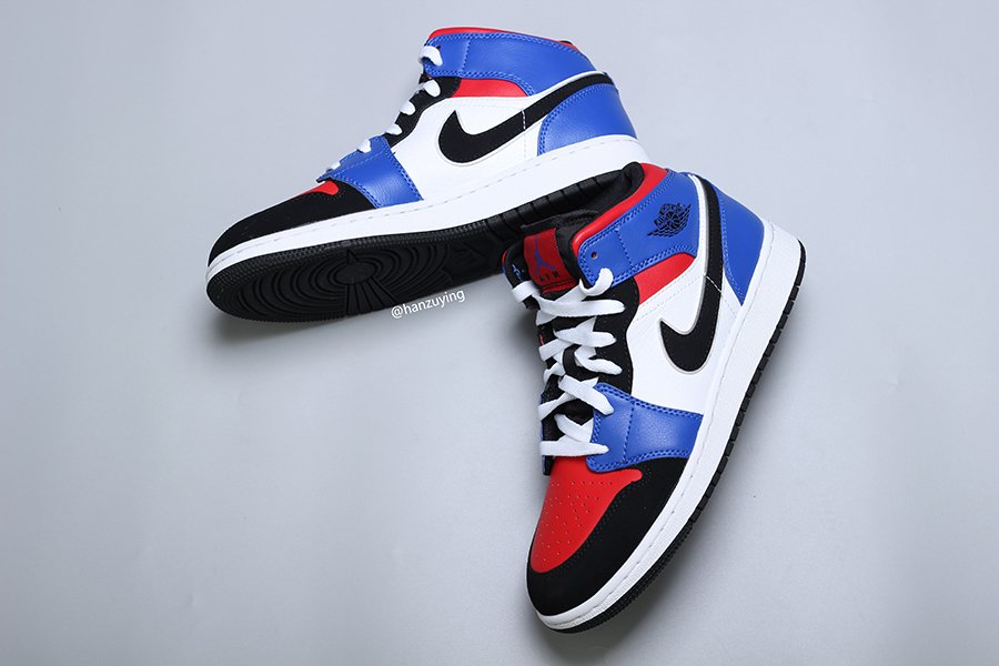 Air Jordan 1 Mid Top 3 Blue Red Black White 554725-124