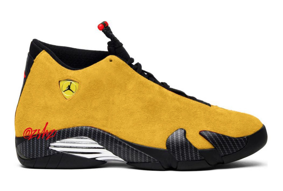 Air Jordan 14 Reverse Ferrari University Gold Black University Red BQ3685-706