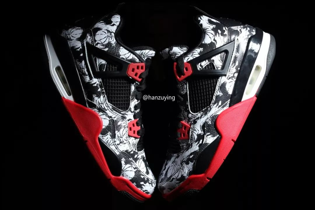 Air Jordan 4 Print White Black Red BV7451-003