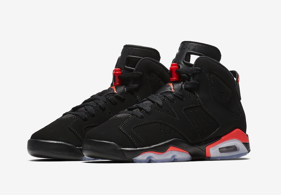 52bb58a3b3aa47 Air Jordan 6 Black Infrared GS Grade School Kids 384665-060 Release Date
