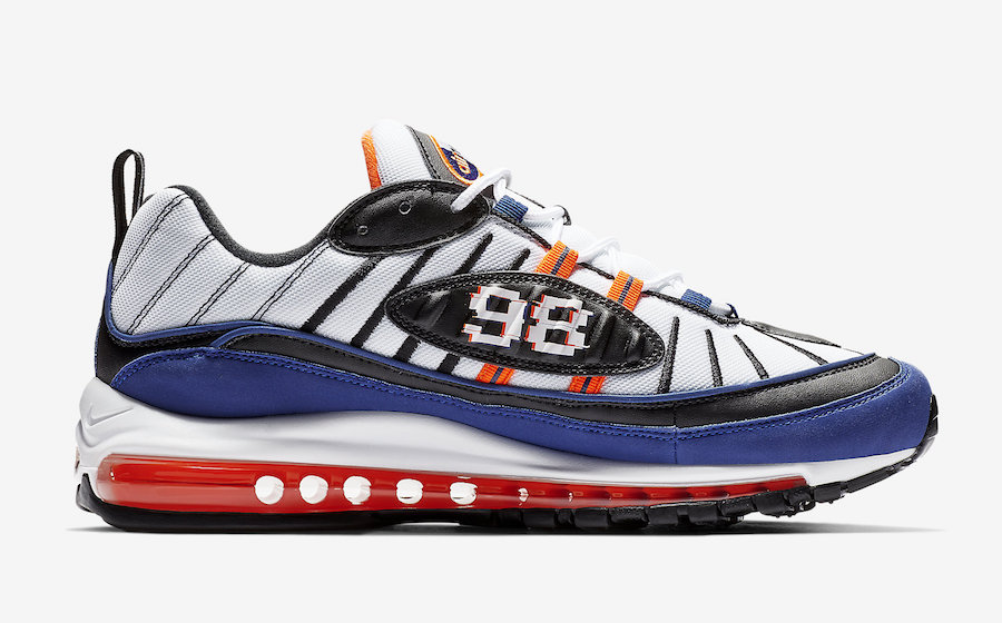 Nike Air Max 98 Knicks White Deep Royal Blue Total Orange Black CD1536-100
