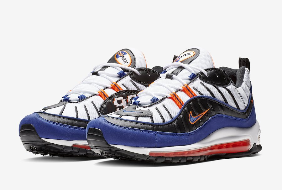 7d1ab13076 Nike Air Max 98 Knicks White Deep Royal Blue Total Orange Black CD1536-100