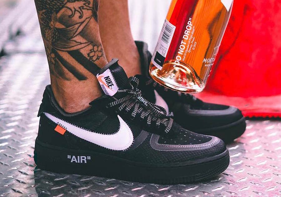 Off-White Nike Air Force 1 Low Black On Feet